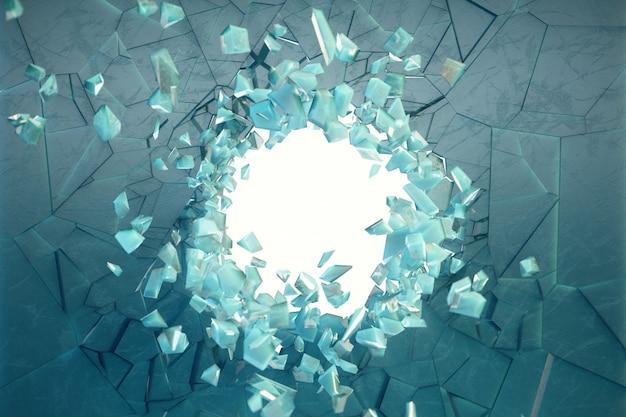 Mur d'illustration 3d de glace avec un trou au centre des éclats en petits morceaux. place pour votre bannière, publicité. l'explosion a provoqué une fissure dans le mur. trou d'explosion dans un mur fissuré de glace.