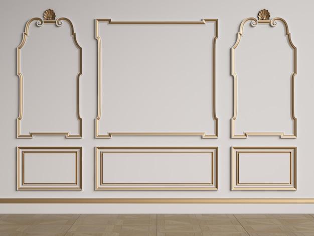 Mur intérieur classique avec moulures