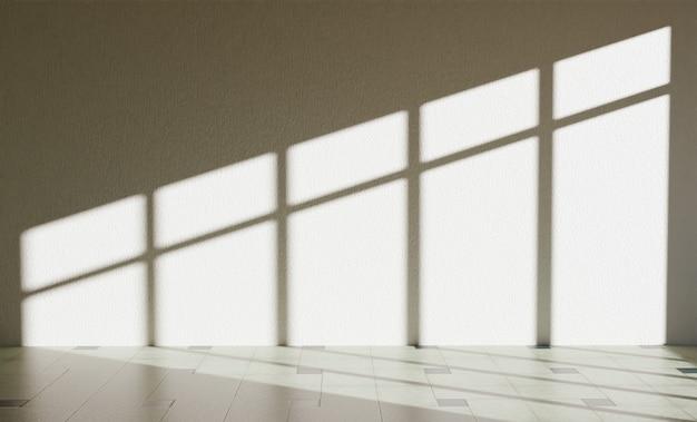 Mur intérieur avec éclairage de fenêtre créant des ombres dures. rendu 3d