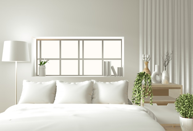 Mur intérieur maison mock up avec lit en bois, rideaux et décoration de style japonais dans la chambre zen