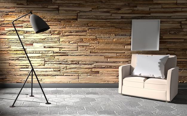 Mur intérieur en pierre avec lampe et canapé .rendu 3d
