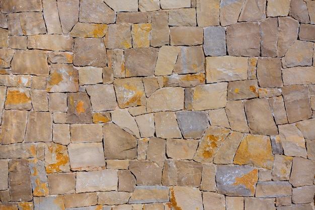 Mur de maçonnerie textre de pierres à la main de style traditionnel