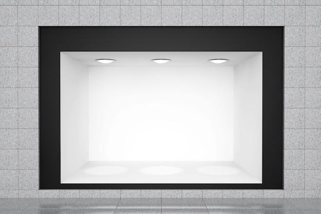Mur de magasin en pierre avec niche vide pour exposition