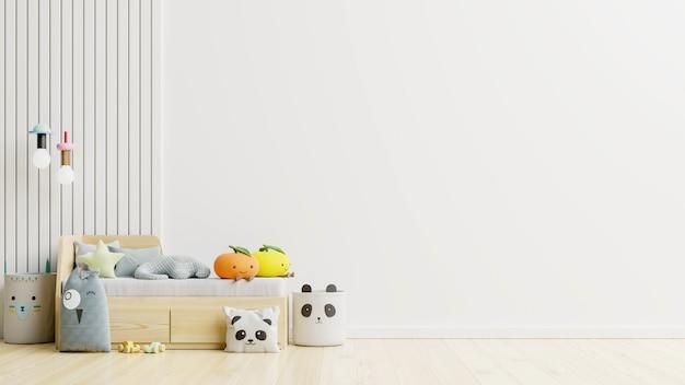 Mur de maquette dans la chambre des enfants sur fond de couleurs blanches de mur rendu 3d