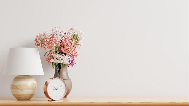 Mur de maquette avec des plantes ornementales et élément de décoration sur étagère en bois, rendu 3d
