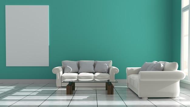 Mur menthe avec canapé et buffet sur un intérieur en céramique. rendu 3d