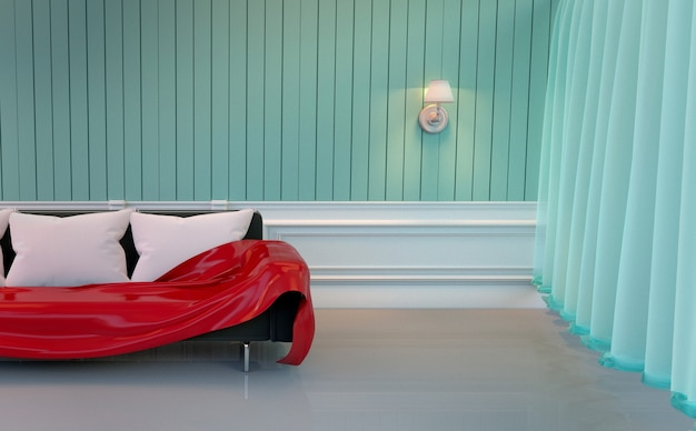 Mur de menthe - salon avec canapé et lampe. rendu 3d