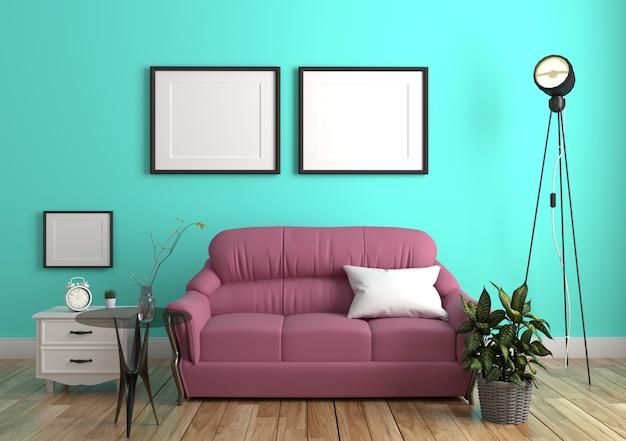 Mur de menthe verte avec canapé et buffet à l'intérieur du plancher de bois. rendu 3d
