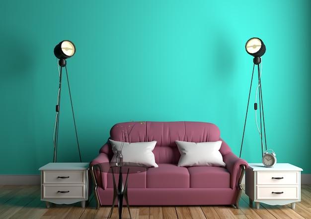 Mur de menthe verte avec canapé et verre de table sur parquet. rendu 3d
