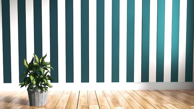 Mur de menthe verte à l'intérieur du plancher de bois. rendu 3d