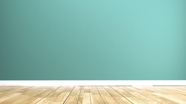 Mur à la menthe verte à l'intérieur du plancher de bois. rendu 3d