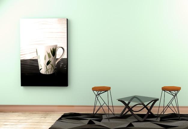 Mur à la menthe verte à l'intérieur du sol blanc vide. rendu 3d