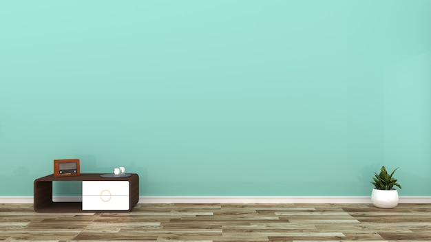 Mur de menthe verte sur plancher en bois. rendu 3d
