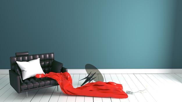 Mur de menthe verte sur plancher en bois avec table de travail. rendu 3d