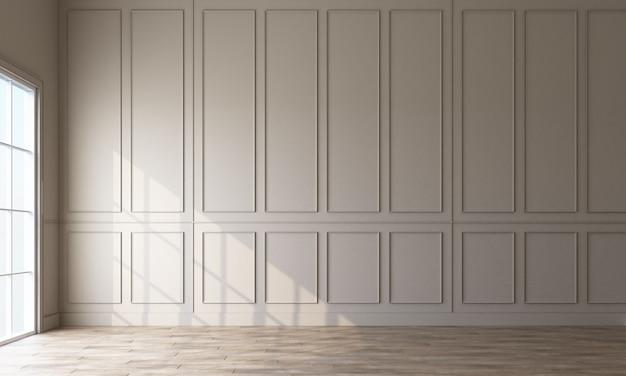 Mur de modèle classique moderne décorer et rendu 3d de plancher en bois