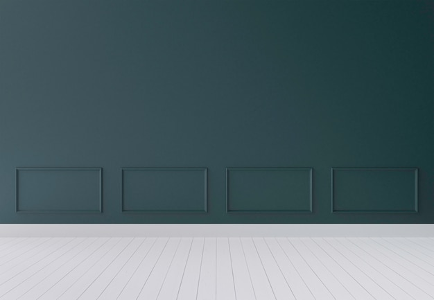 Mur moderne vert foncé et plancher en bois rendu 3d