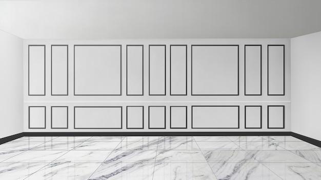 Mur à motifs blancs avec maquette de salle vide au sol en marbre