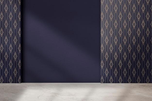 Mur à motifs géométriques chambre vide design d'intérieur authentique
