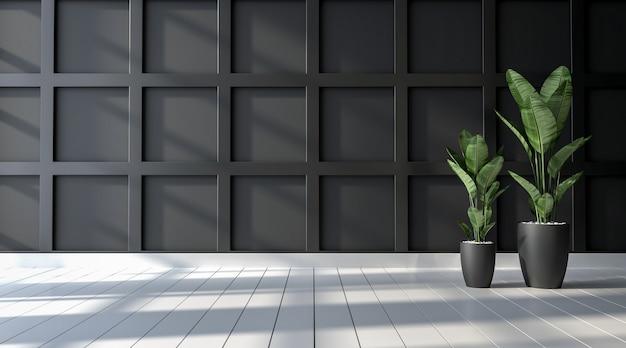 Mur noir vide avec plancher en bois blanc avec fond de plantes