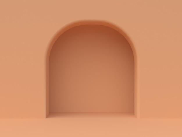Mur orange minimal porte cintrée rendu 3d