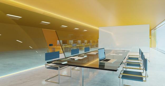 Mur orange, sol en ciment et façade en verre design d'éclairage salle de réunion de conférence moderne avec tableau blanc vide