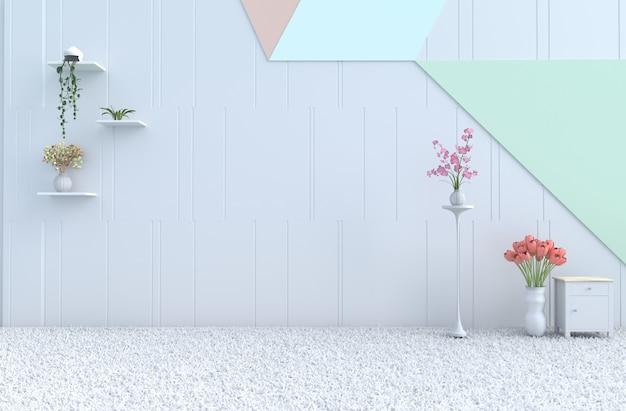 Mur de pastel, orchidée, tulipe, tapis, décor de chambre pastel vide. noël, nouvel an rendu 3d