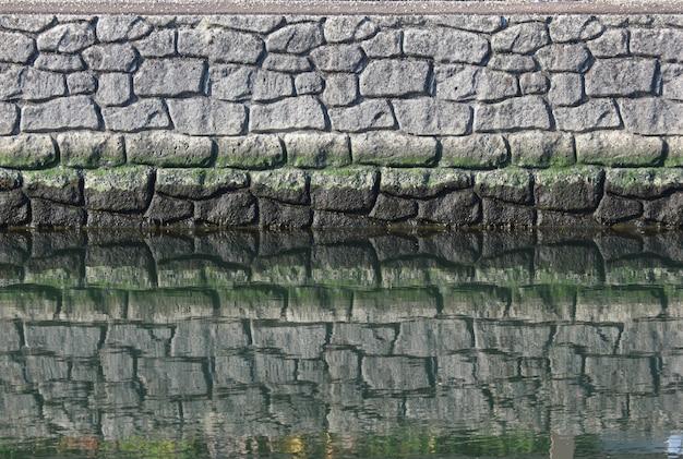 Un mur de pierre naturelle avec reflet sur la surface de l'eau près du fleuve.
