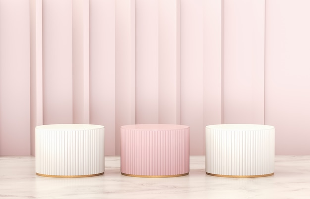 Mur de podium de cylindre rose et blanc de luxe pour l'affichage du produit.