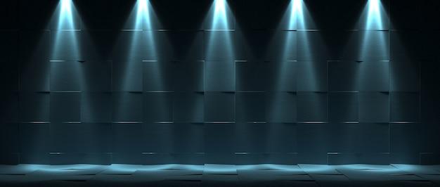 Mur et sol en carreaux anciens avec cinq lanternes sur le dessus. abstrait sombre. rendu 3d