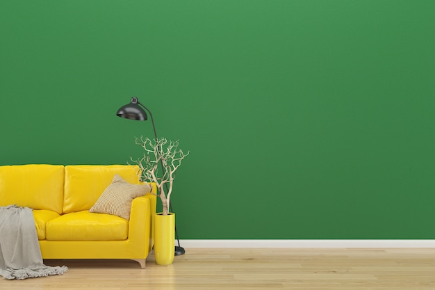 Mur vert canapé jaune espace copie intérieur salon parquet