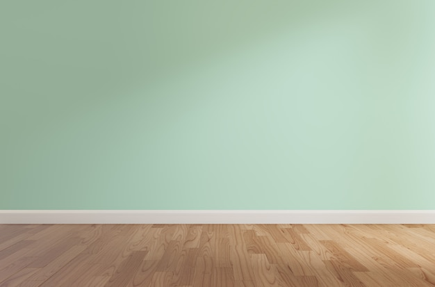 Mur vert et plancher en bois, rendu 3d