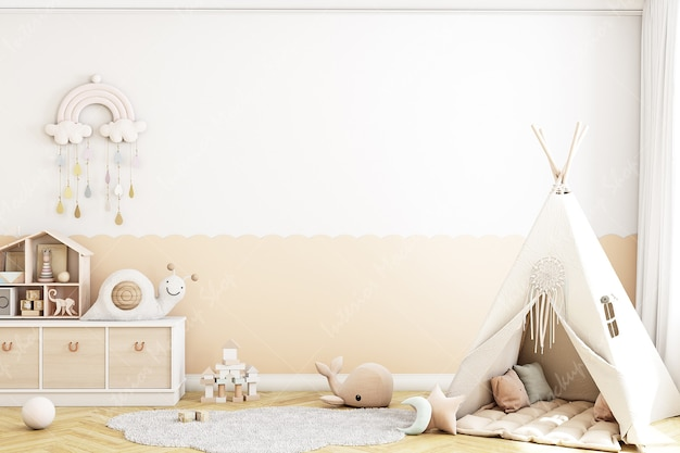 Mur vide de la chambre de bébé de style bohème avec des jouets
