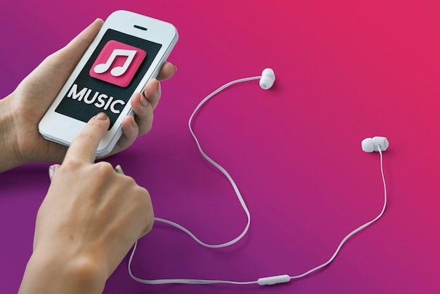 Musique auido mp3 player podcast song sound concept