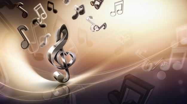 Musique de fond abstrait avec des notes et concept d'image clé de sol d