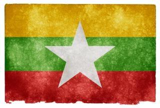 Myanmar drapeau grunge antique