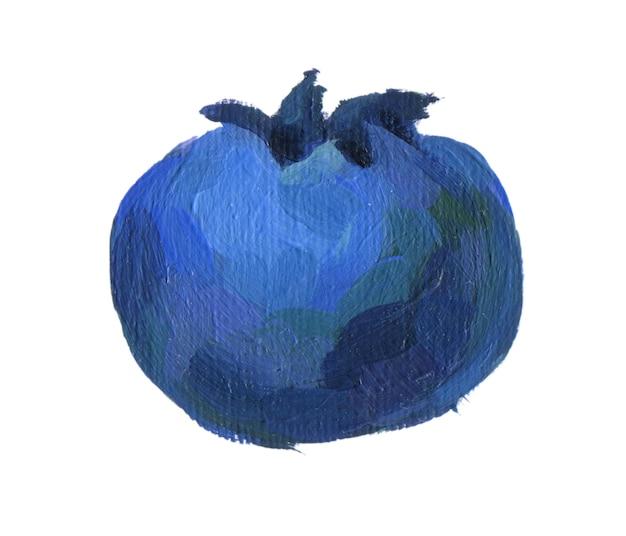 Myrtille macro isolé sur fond blanc bleuets acryliques dessinés à la main close up