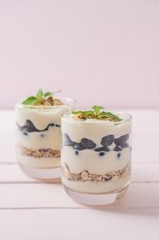 Myrtilles fraîches et yogourt avec granola - style alimentaire sain