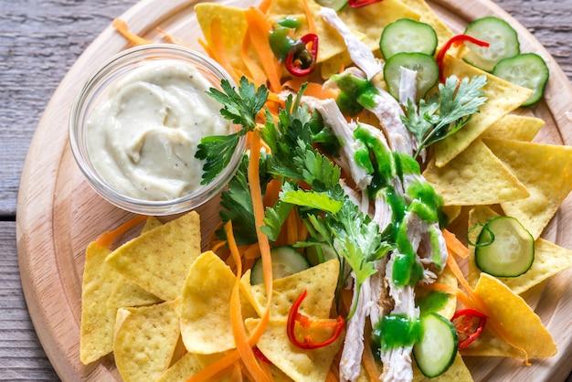 Nachos au poulet et légumes