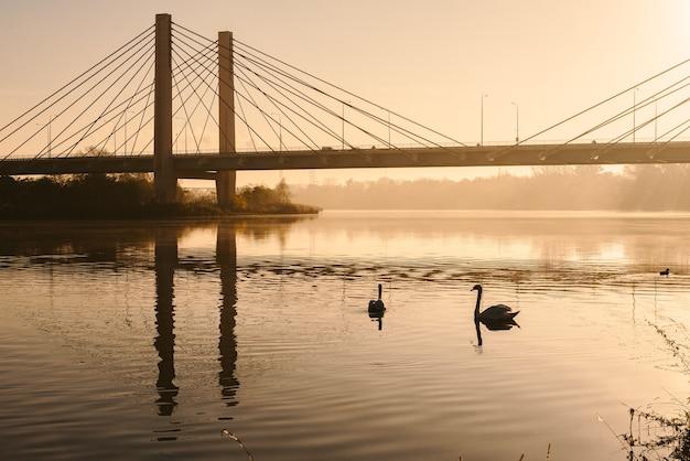 Nagé sur la rivière, lever du soleil, pont