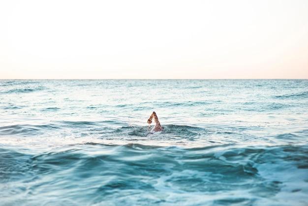Nageur masculin nageant dans l'océan avec espace copie