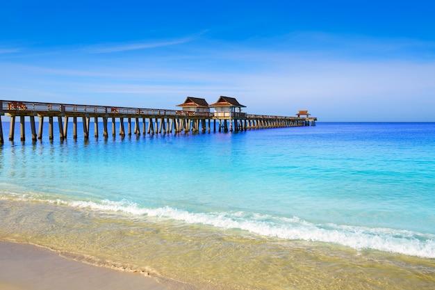 Naples, jetée, et, plage, dans, floride, usa
