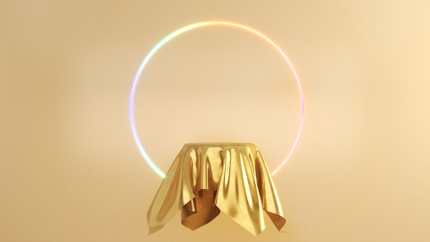 Nappe en or avec néon sur le mur arrière en or, support de maquette pour la présentation du produit, rendu 3d