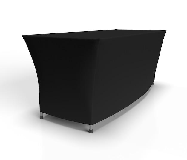 Nappe stretch fit sur une table à tréteaux d'exposition