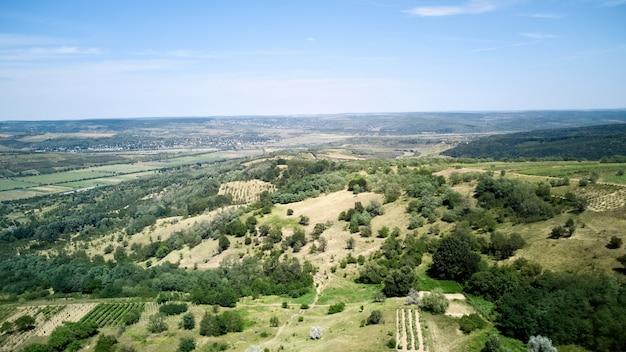 Nature avec champ vert et ciel bleu
