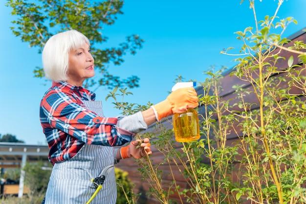 Nature. jolie dame agréable se sentant bien tout en prenant soin des plantes