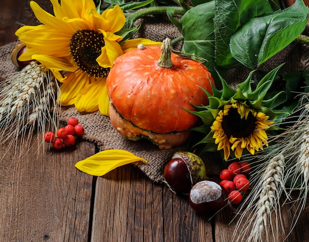 Nature morte d'automne avec citrouille et tournesol