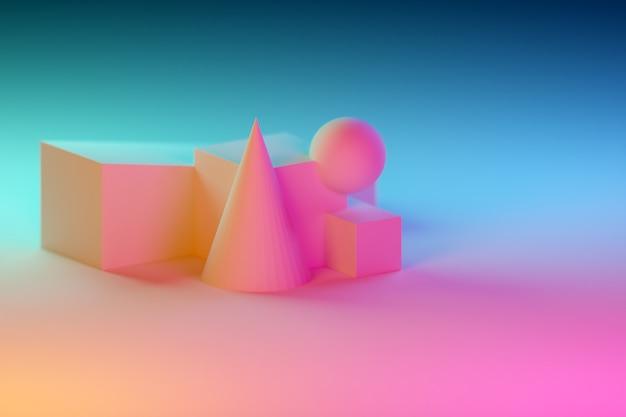 Nature morte classique 3d avec des formes volumétriques géométriques roses et bleues avec ombre: parallélépipède, cube, cône, boule