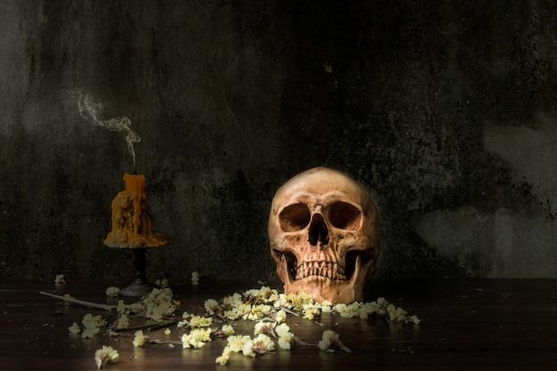 Nature morte avec crâne humain et bougie et fleur sèche sur fond abstrait