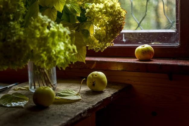 Nature morte avec des fleurs d'hortensia vert et trois pommes vertes par la fenêtre d'une maison de campagne en bois