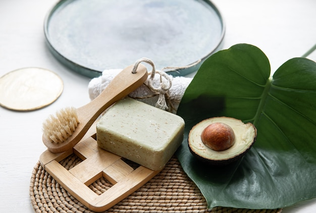 Nature morte avec des produits de soins corporels naturels et biologiques. concept de santé et de beauté.